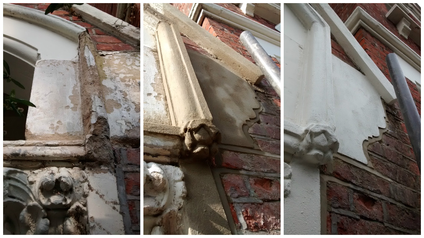Photos showing the extensive restoration work carried out on the decorative masonry detailing on a house in south London