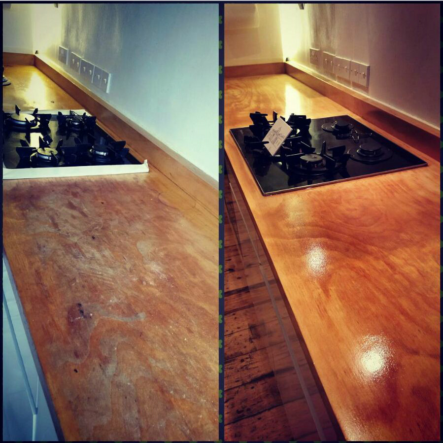 Dust-free worktop restoration in south London
