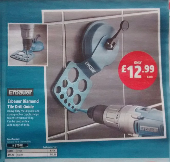 Screwfix tile drilling jig