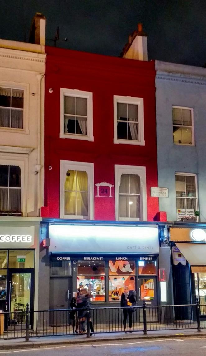 Facade of VQ in Notting Hill at night